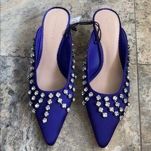 Zara Crystal embellished kitten heels